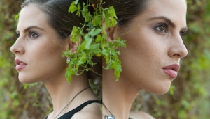 Side profile of girl wearing MODELLAUNCHER make-up and foliage.