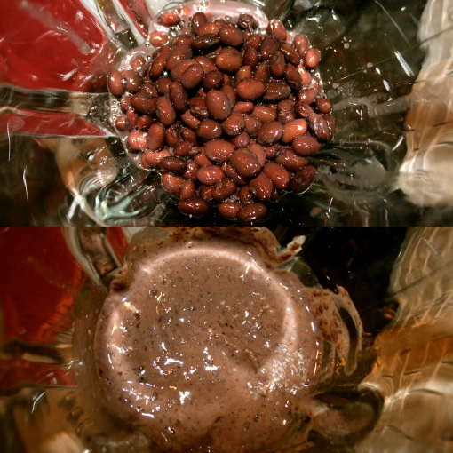 Black beans in a clear blender, before and after.